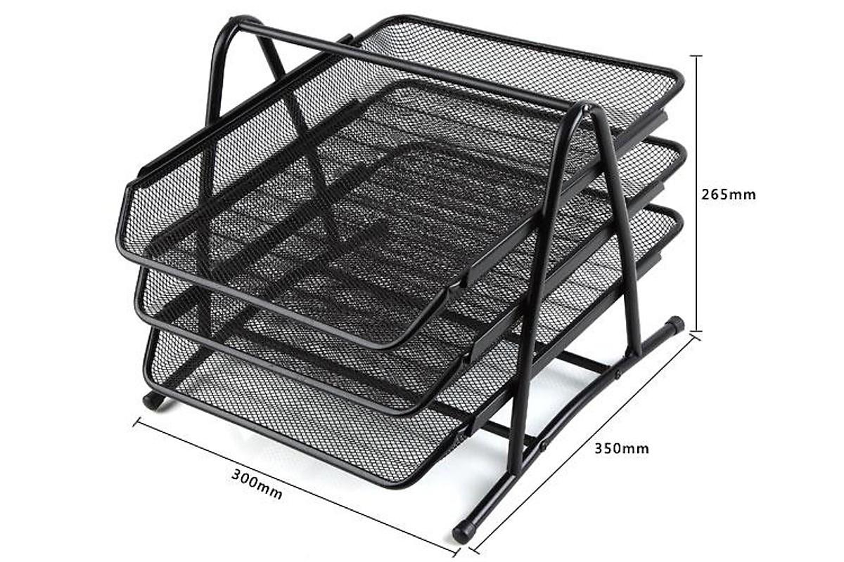 Khay để tài liệu 3 tầng bằng thép lưới cao cấp (giao màu ngẫu nhiên)