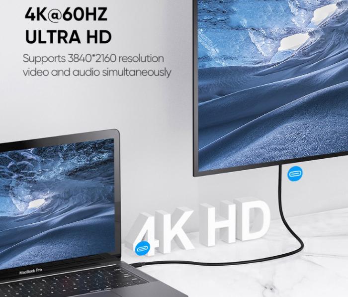 Cáp Usb 3.1 Type-c bọc lưới cho Macbook hỗ trợ 4K 60hz và sạc 60w