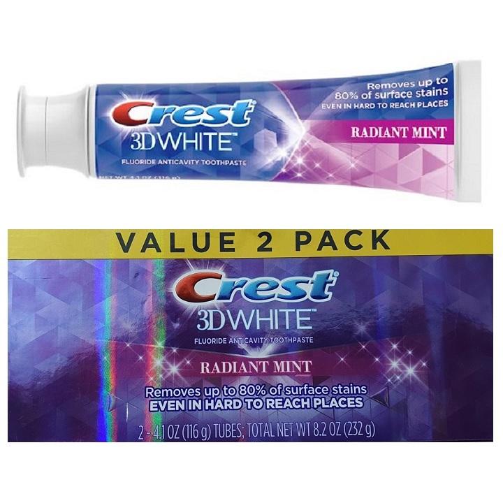 Lốc 2 cây kem đánh răng Crest 3D White Radiant Mint ( 116g / cây )