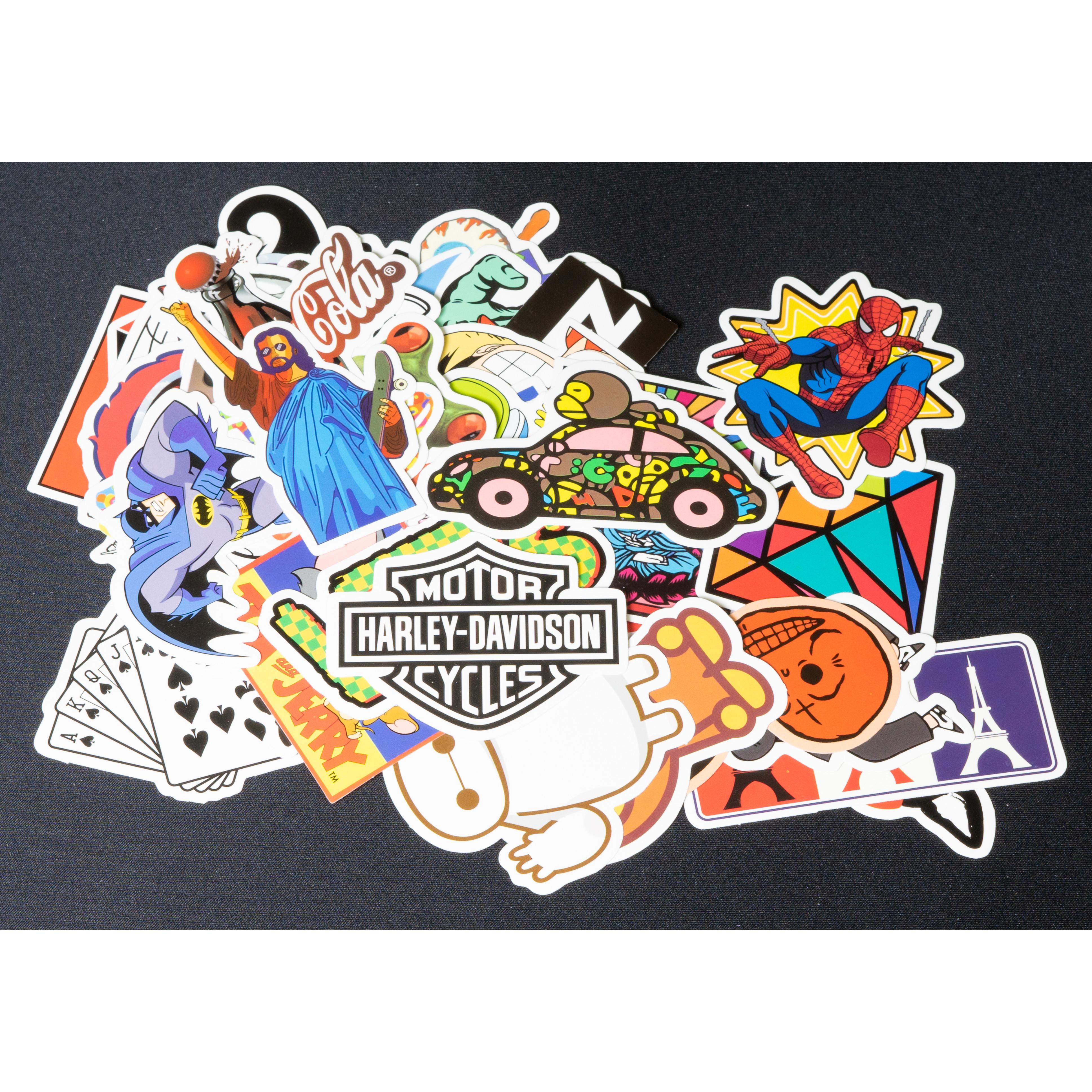 Bộ 20 50 sticker hình dán mẫu mới trang trí laptop, macbook, xe đạp, xe máy, vali du lịch