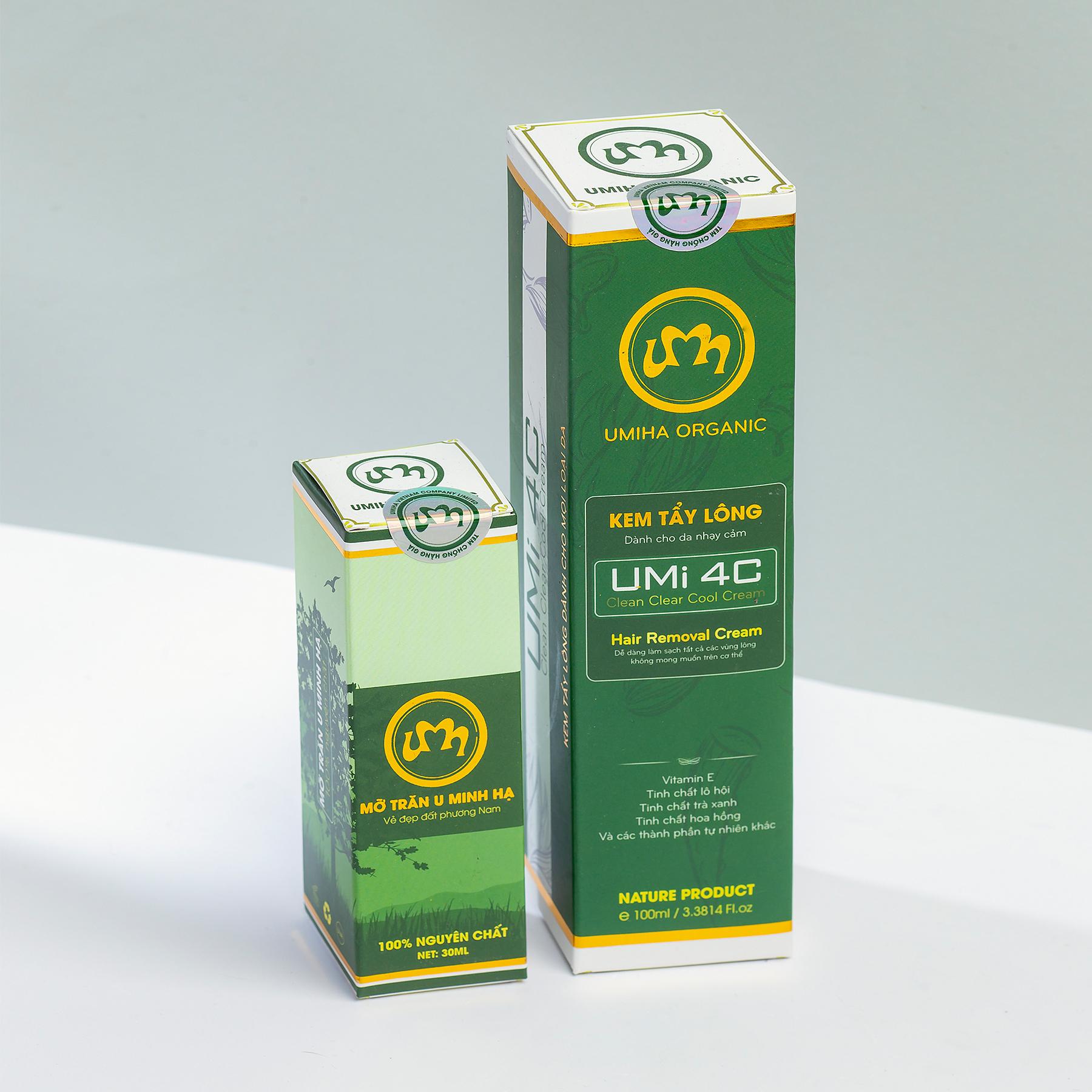 COMBO TẨY TRIỆT LÔNG BIKINI VÙNG KÍN VĨNH VIỄN UMISKIN tại nhà | Mỡ trăn triệt lông vĩnh viễn U Minh Hạ (10ml) & Kem tẩy lông Umi 4C (100ml) an toàn cho da nhạy cảm