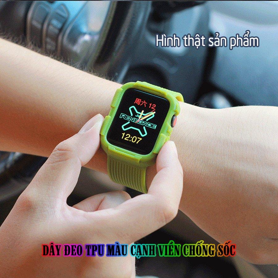 Dây Đeo liền ốp dành cho Apple Watch size 38/40/42/44mm TPU màu cạnh viền chống sốc - Xanh bơ (tặng dán KCL theo size)