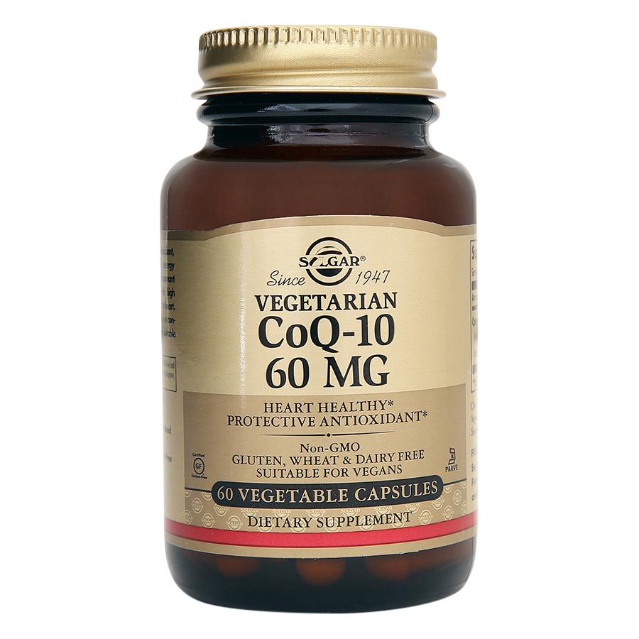 NHẬP KHẨU USA CHÍNH HÃNG - Viên uống điều hòa huyết áp, giảm nguy cơ tai biến, giảm cholesterol trong máu Solgar Vegetarian CoQ-10 60 mg