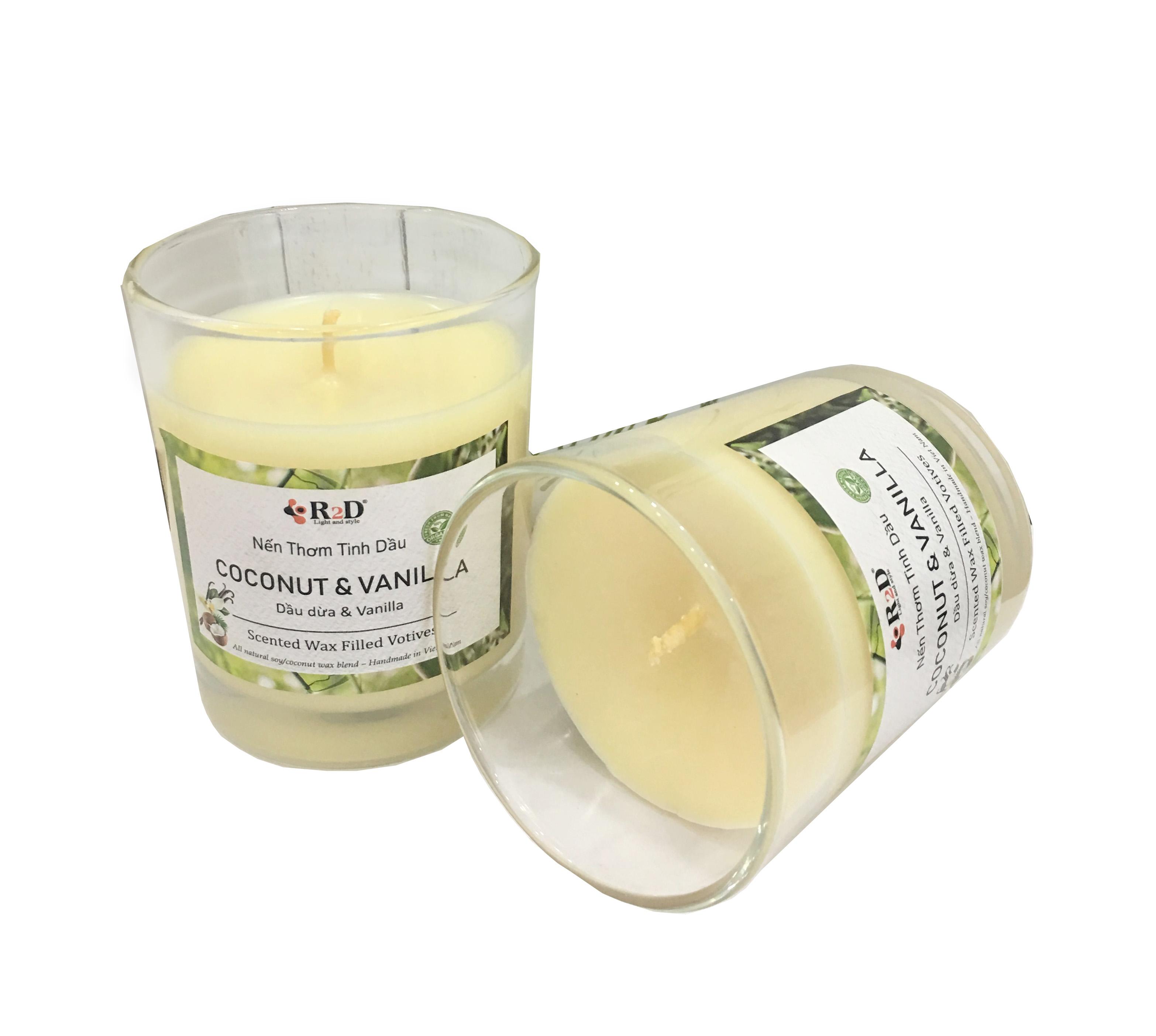 2 Ly Nến Thơm Tinh Dầu Dừa - Vanilla