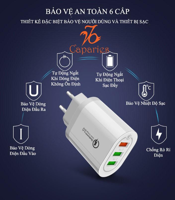Củ Sạc Nhanh Quick Charge 3.0 Siêu Bền, 1 cổng USB , Chống Nóng, Sạc Nhanh 3.0 - Chính Hãng CAPARIES VIỆT NAM