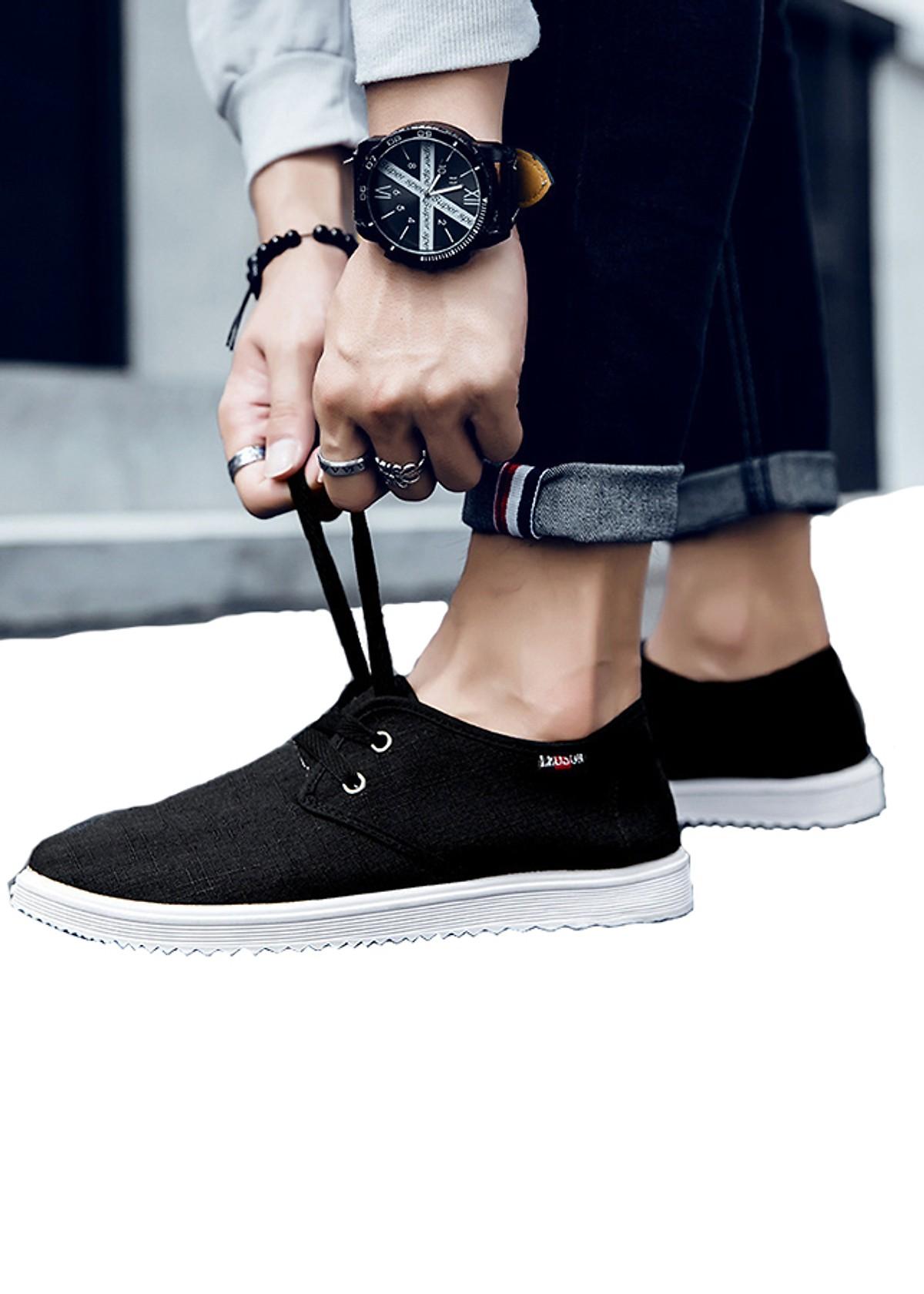 Giày Sneaker Nam TAZ Chất Vải Jeans Dễ Chịu TN97 - Đen