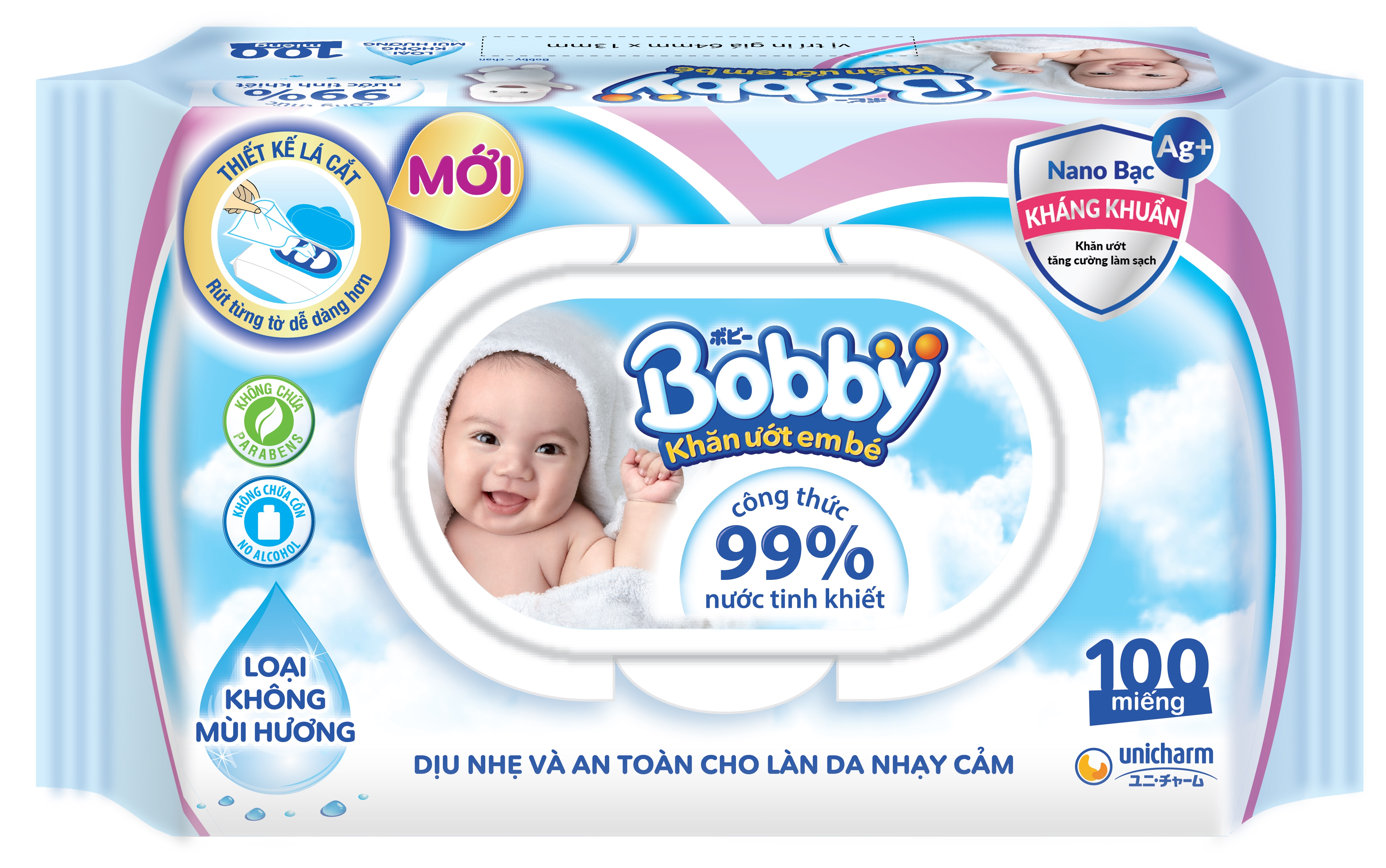 Combo Tiết Kiệm: Thùng 16 Gói Khăn Ướt Bobby Care Không Hương 100 Miếng/Gói tặng 15 khẩu trang Unicharm Nhật Bản