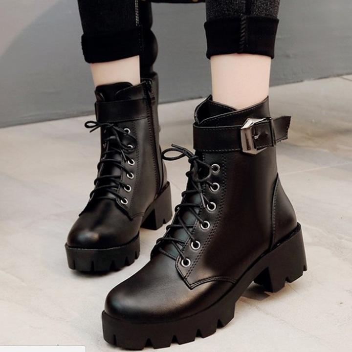Giày boot combat nữ 4 phân 1 khóa S424