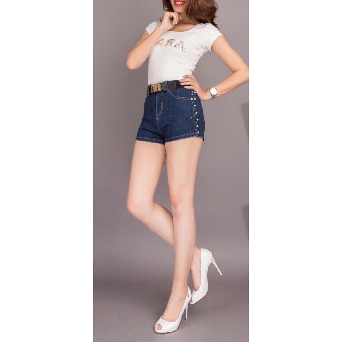Quần Shorts Jeans Nữ Kết Hẹt Co giãn