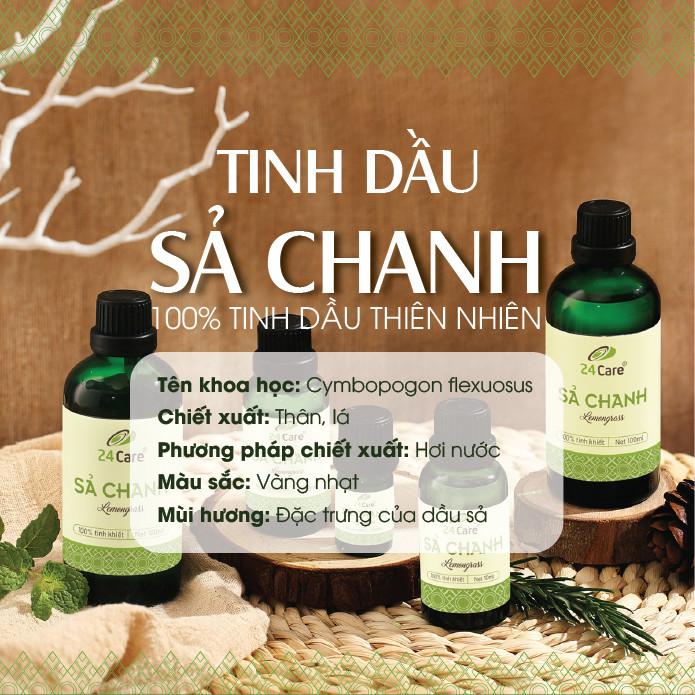 Tinh dầu Sả Chanh 24Care 100ML - Chiết xuất thiên nhiên, thơm phòng, đuổi muỗi.