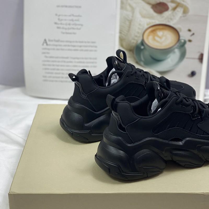 Giày thể thao nữ Shougo có 2 màu đen & kem chất da siêu đẹp độn đế cao giá rẻ
