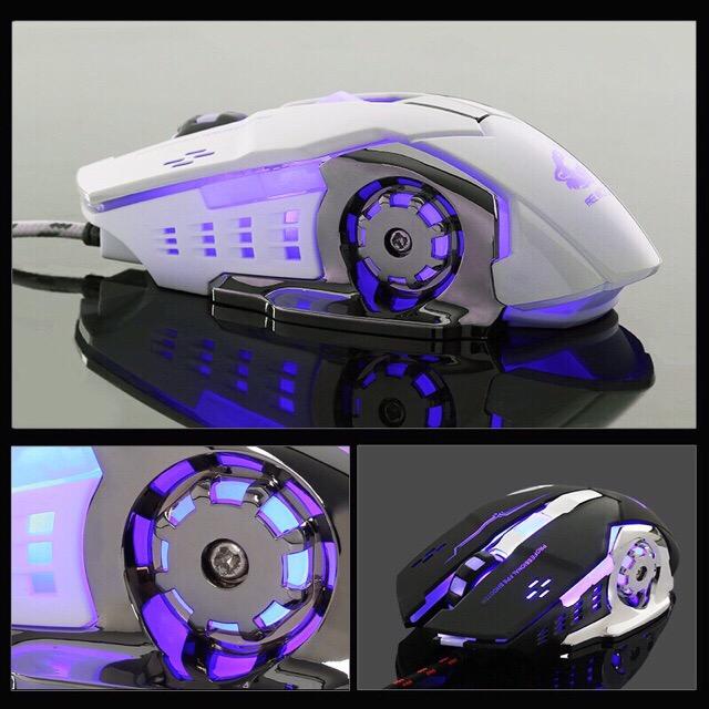 Chuột Game Có Dây FREE WOLF XSmart V5 LED 7 màu cực đẹp chuyên gaming, dây siêu bền, chỉnh được dpi - Hàng Chính Hãng