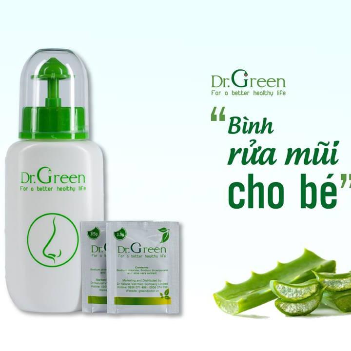 Bình rửa mũi Dr.Green kèm 10 gói muối lô hội (hàng chính hãng)
