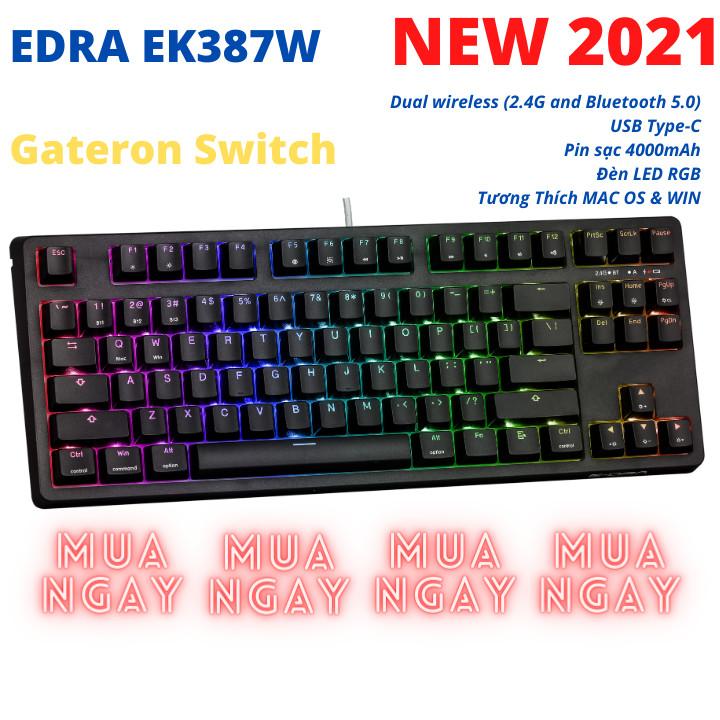 Bàn Phím Cơ EDRA EK387W GATERON Switch Chính Hãng - Bluetooth 5.0 LED RGB Type C - Hàng Chính Hãng