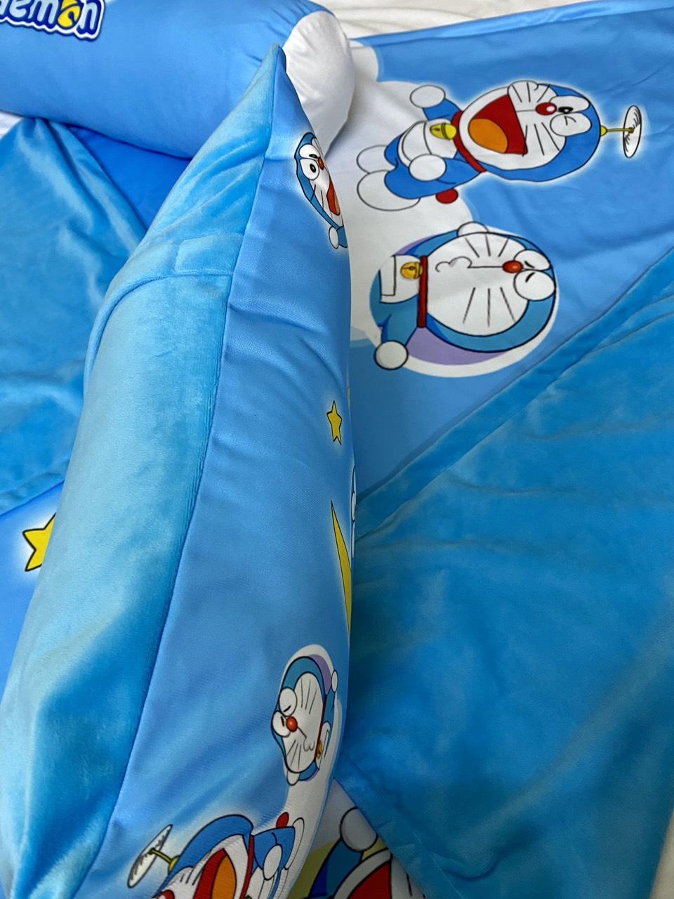 Bộ chăn gối hình Doremon và mặt trăng cho bé 3-5 tuổi