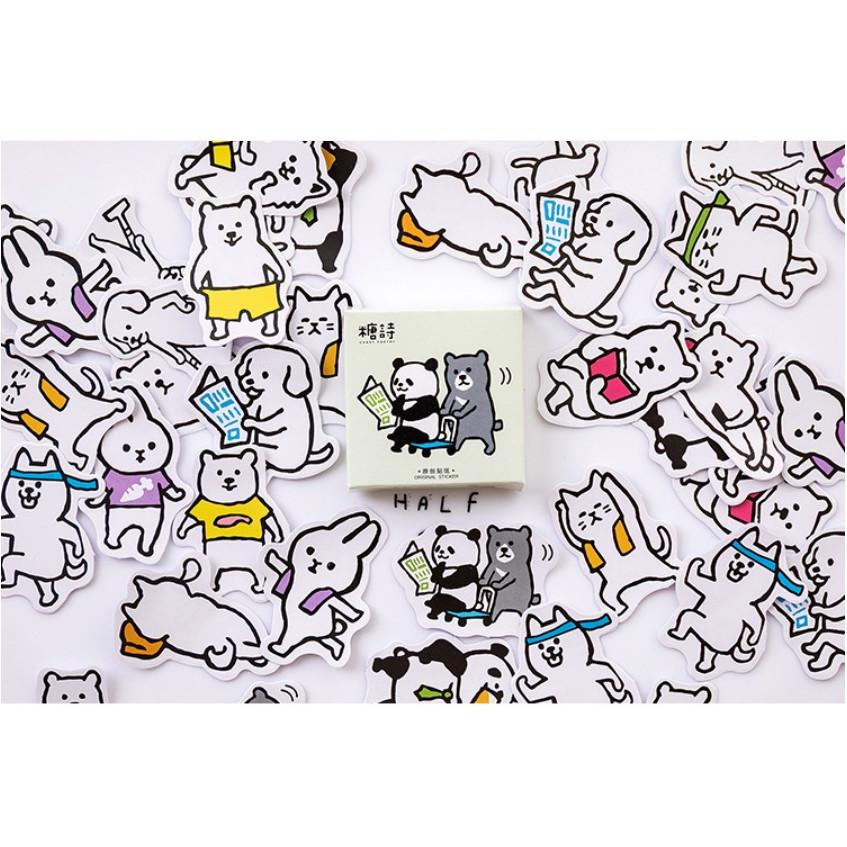Hộp 45 Miếng Dán Sticker Trang Trí Nhật Ký Hàng Ngày Của Động Vật