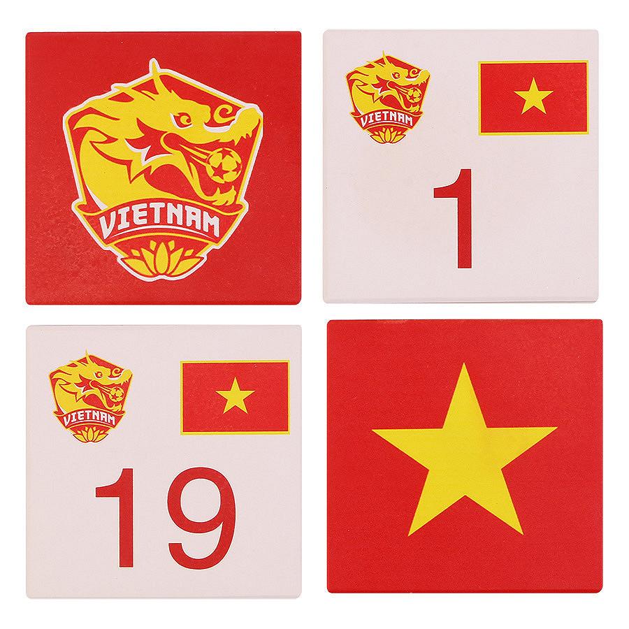 Bộ 4 Lót Ly Vuông Mika U23VN - Trắng Đỏ