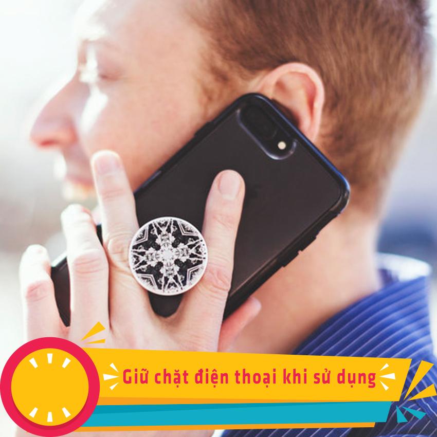 Gía đỡ điện thoại đa năng, tiện lợi, đính đá sang trọng - PopSockets - Đính đá Trắng- Hàng Chính Hãng