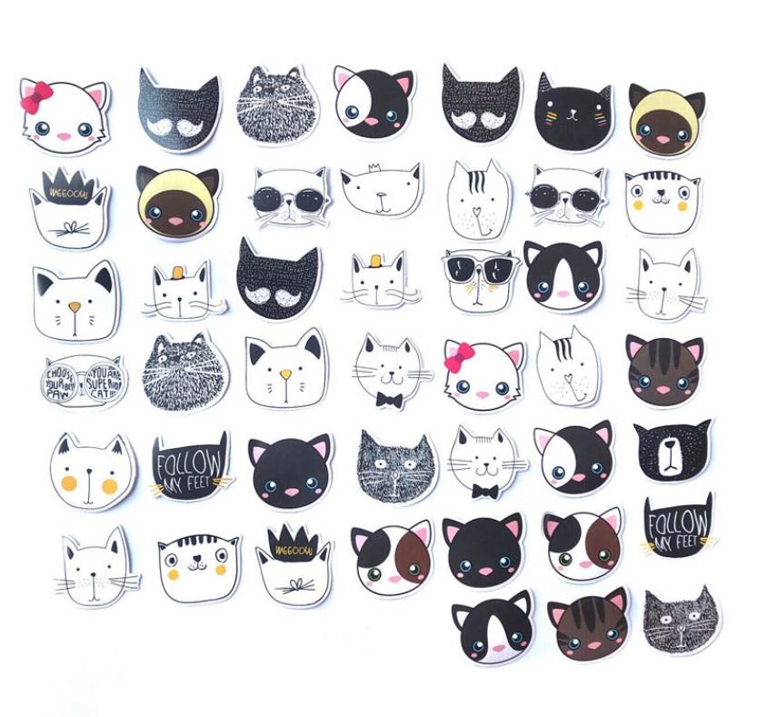 Hộp 45 Miếng Dán Sticker Trang Trí Hình Mèo Quý Tộc