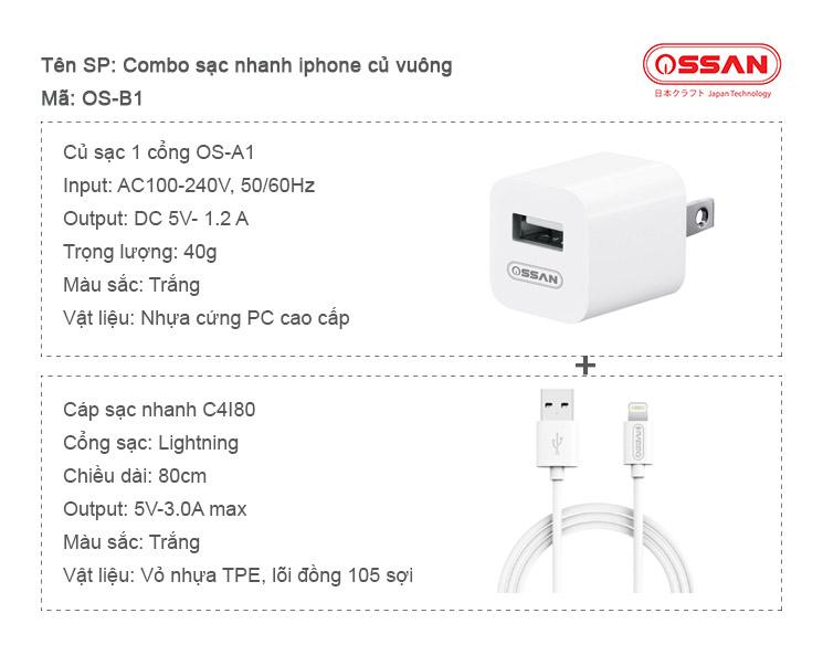 Combo sạc nhanh cho Iphone củ vuông OS-B1 - Hàng chính hãng Ossan