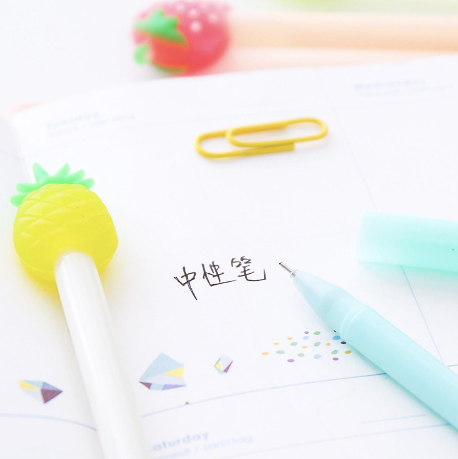 [COMBO 3 Chiếc] Bút Bi Viết Dâu Tây Siêu Dễ Thương - Bút Bi Nước Văn Phòng Mực Đen