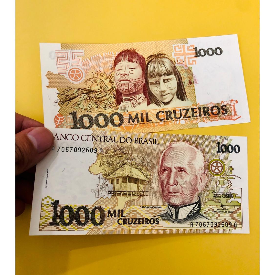 01 tờ tiền giấy Brazil 1000 Đồng làm quà tặng, mới 100% UNC
