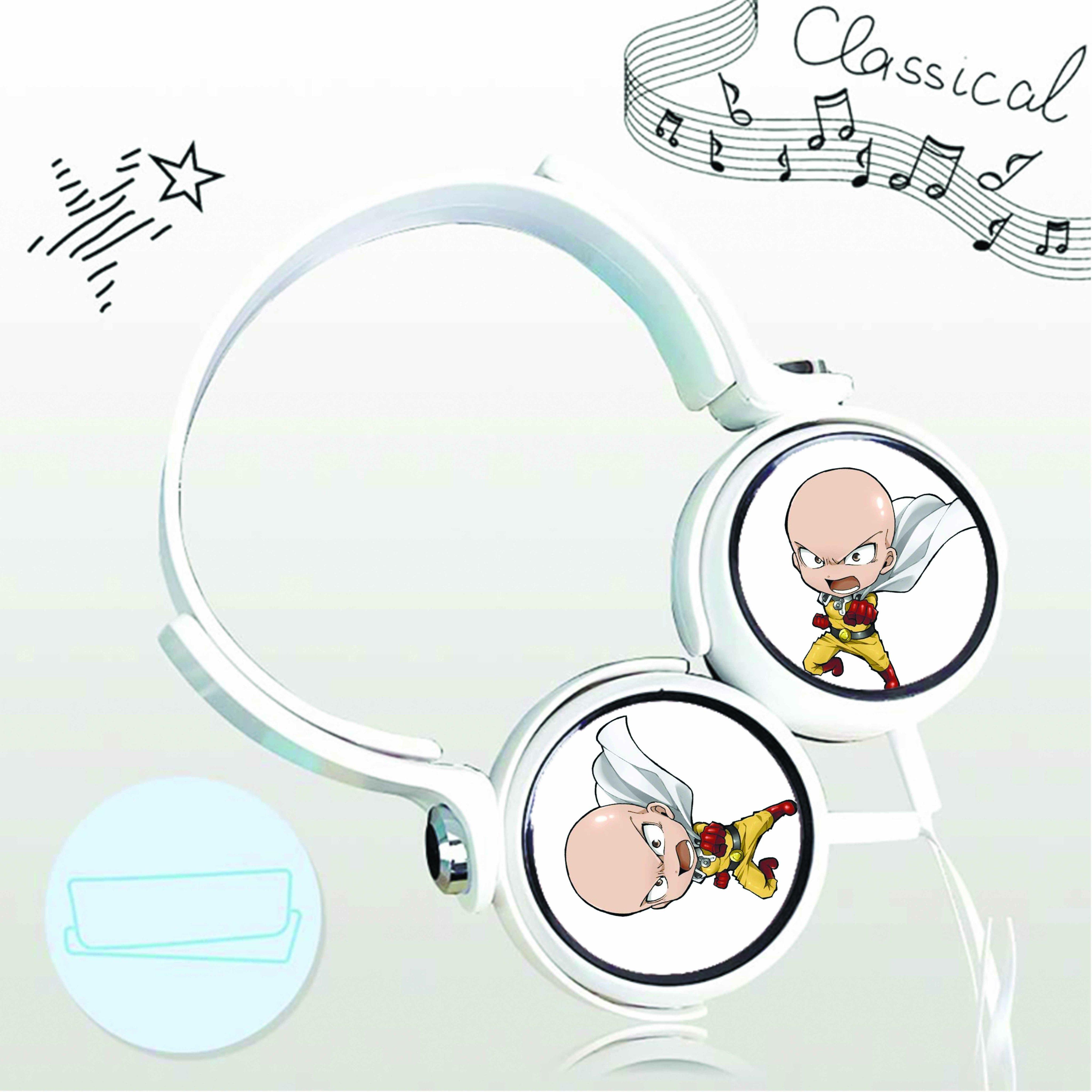 Tai nghe chụp in hình One Punch Man anime chibi có dây cắm mic