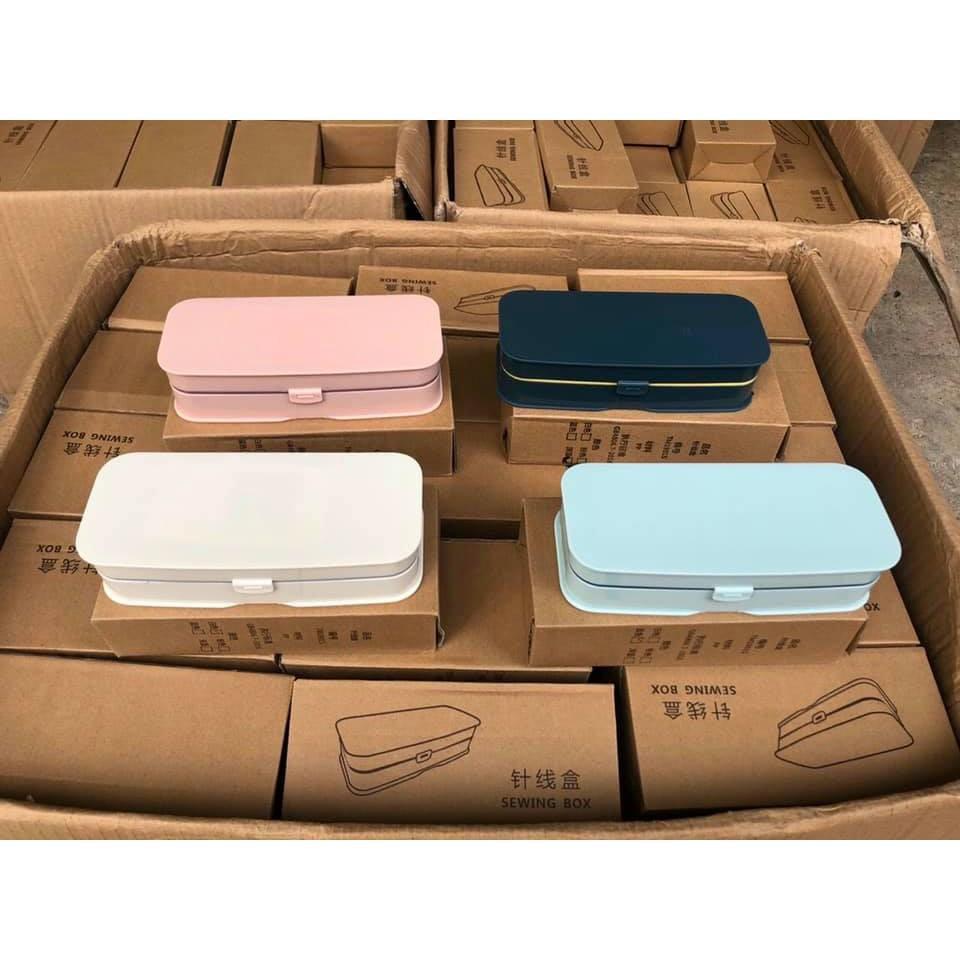 Hộp kim chỉ đa năng 55 món bộ phụ kiện may vá,Hộp kim chỉ gia đình tiện dụng kèm hộp đựng tiện ích