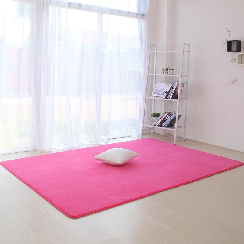 Thảm trải sàn phòng khách trơn mềm màu Đỏ Hoa Hồng 160x200cm