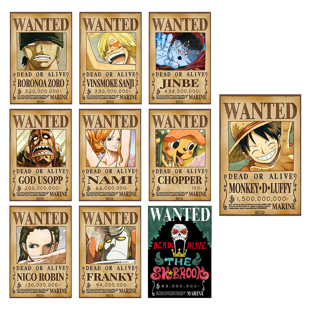 Poster truy nã 10 thành viên Băng Hải Tặc Mũ Rơm (Timeskip) - One Piece