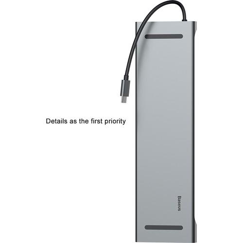 HUB chuyển đổi Baseus Enjoyment Series Type-C to PD/HDMI/VGA/RJ45/SD/USB*3 Notebook HUB Adapter Gray - Hàng Chính Hãng