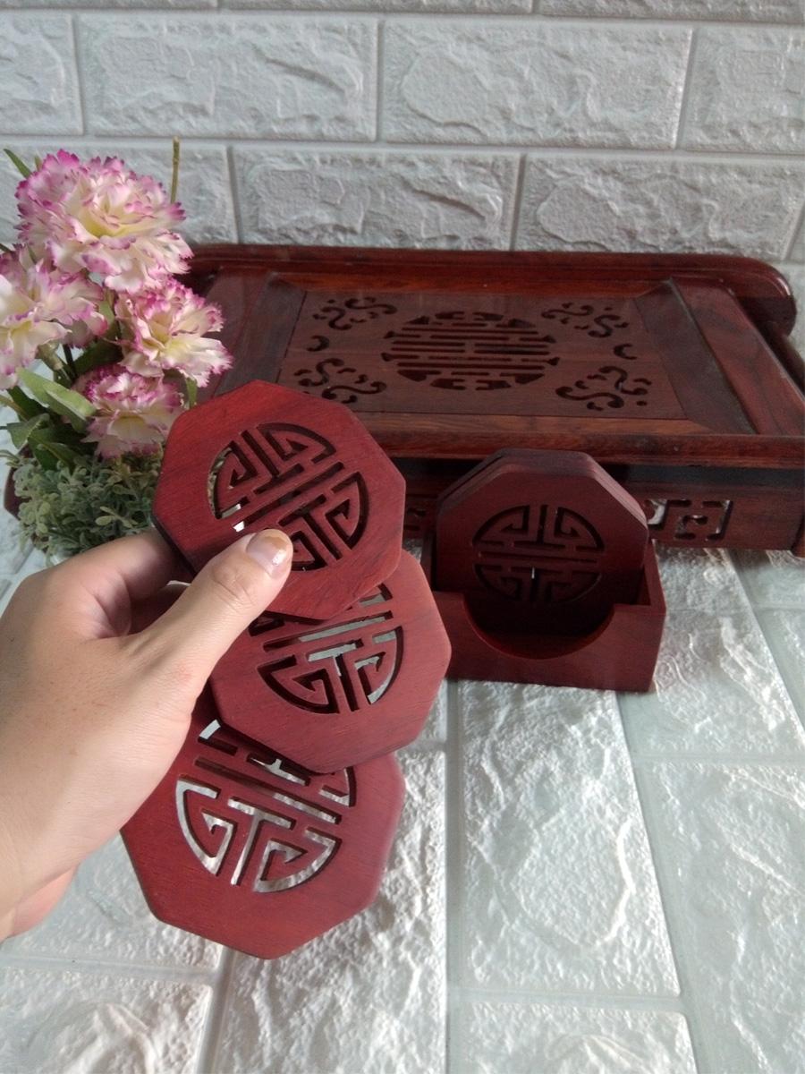 Bộ 6 miếng đế lót ly hình bát giác gỗ hương lọng chữ thọ - LLBG03