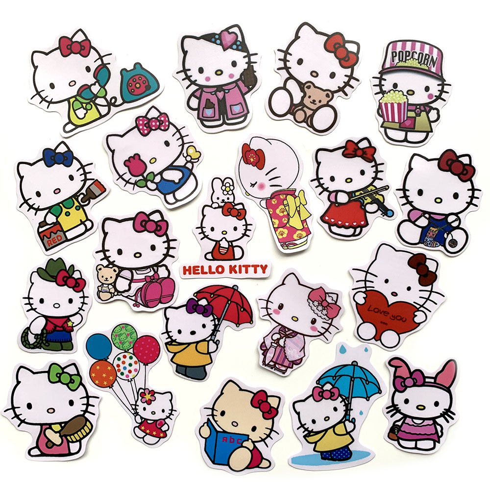 Bộ 20 Sticker Hello Kitty Hình Dán Chủ Đề Mèo Dễ Thương Cute Chống Nước Decal Chất Lượng Cao Trang Trí Va Ly Du Lịch Xe Đạp Xe Máy Xe Điện Motor Laptop Nón Bảo Hiểm Máy Tính Học Sinh Tủ Quần Áo Nắp Lưng Điện Thoại