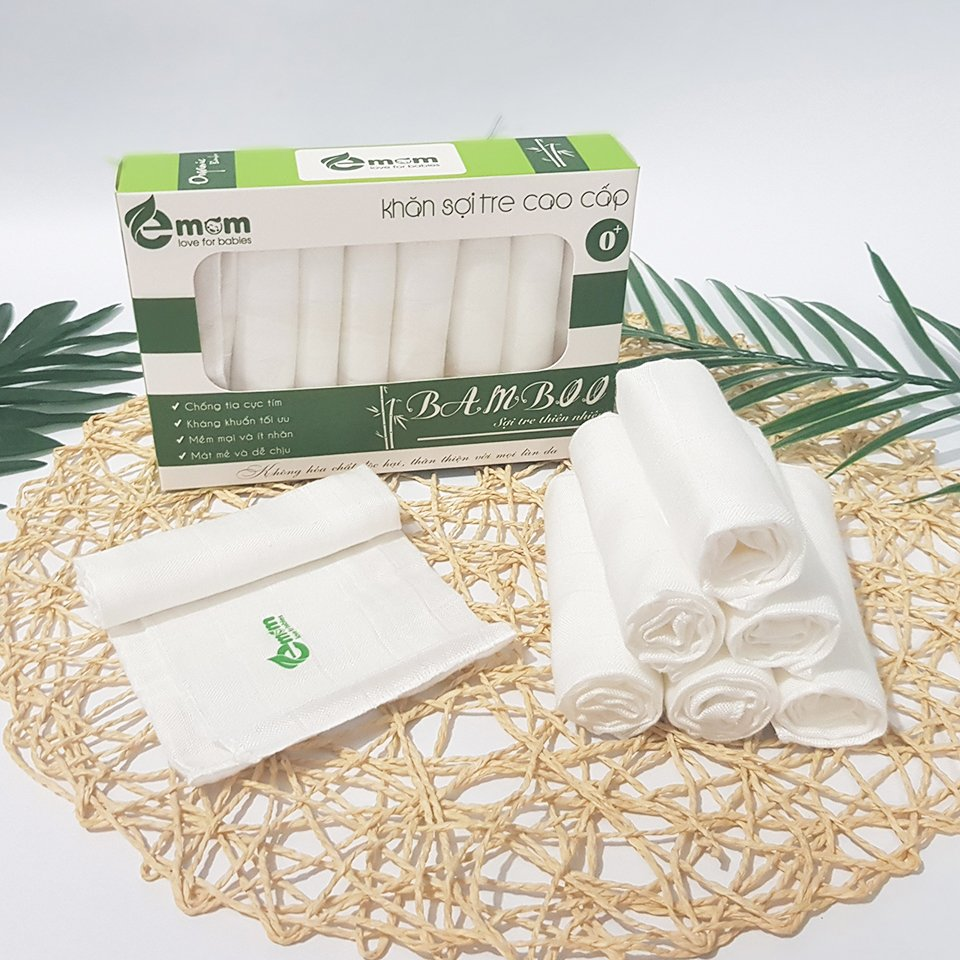 [Hộp 8 Chiếc] Khăn Sữa Sợi Tre Cho Bé Emom - Khăn Đẹp, Kháng Khuẩn, Mềm Mại Và Siêu Thấm Hút - Khăn Xô Bamboo Cho Bé 100% Sợi Bamboo Organic An Toàn Cho Bé