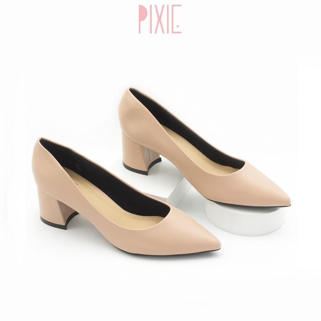 Giày Cao Gót Đế Vuông 5cm Mũi Nhọn Basic Màu Nâu Pixie P055