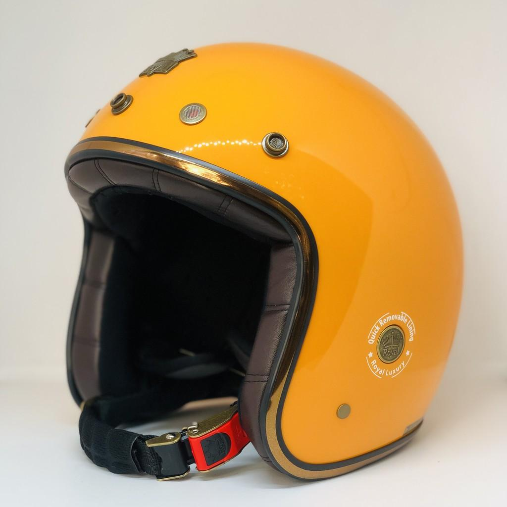 Nón bảo hiểm 3/4 ROYAL M20D Luxury Vàng nghệ bóng