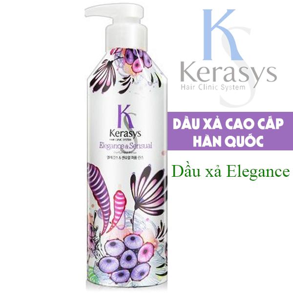 Bộ dầu gội/xả nước hoa Kerasys Elegance & Sensual hương violet và xạ hương Hàn Quốc 600ml + Móc khoá