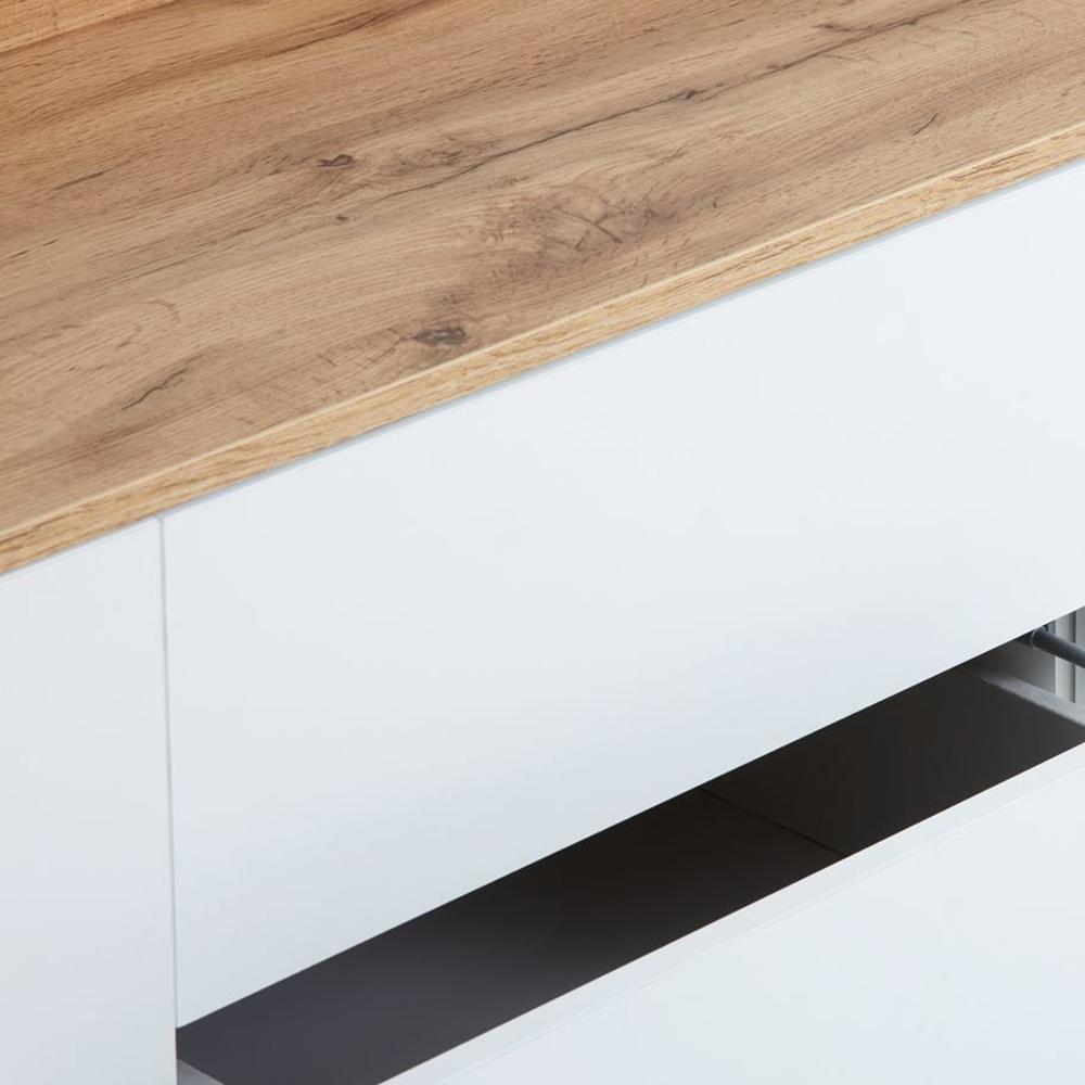 Tủ chén đĩa JYSK Aarup 2 cửa 2 ngăn kéo gỗ công nghiệp màu trắng chân sồi 147x68x41cm