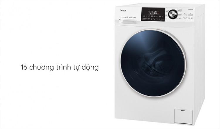 Máy giặt sấy AQUA AQD-DH1050C N, giặt 10.5kg, sấy 7kg,Invertertích hợp 16 chương trình tự động