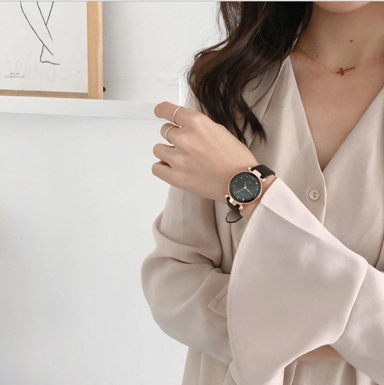 Đồng hồ đeo tay nữ mặt nhỏ, dây da nhiều màu thời trang, phong cách Hàn Quốc DOU3422-5, Tặng vòng đeo tay - Hàng nhập khẩu