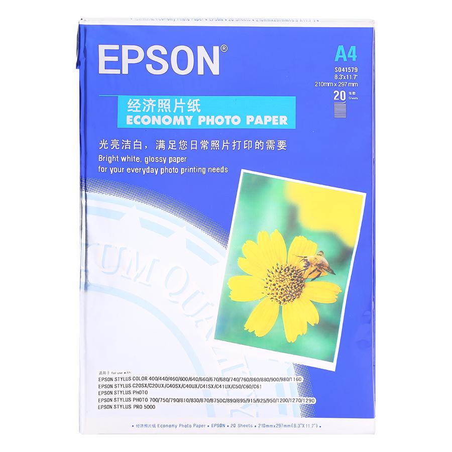 Giấy In Ảnh A4  Epson 2 Mặt 20 Tờ Định Lượng 230Gsm