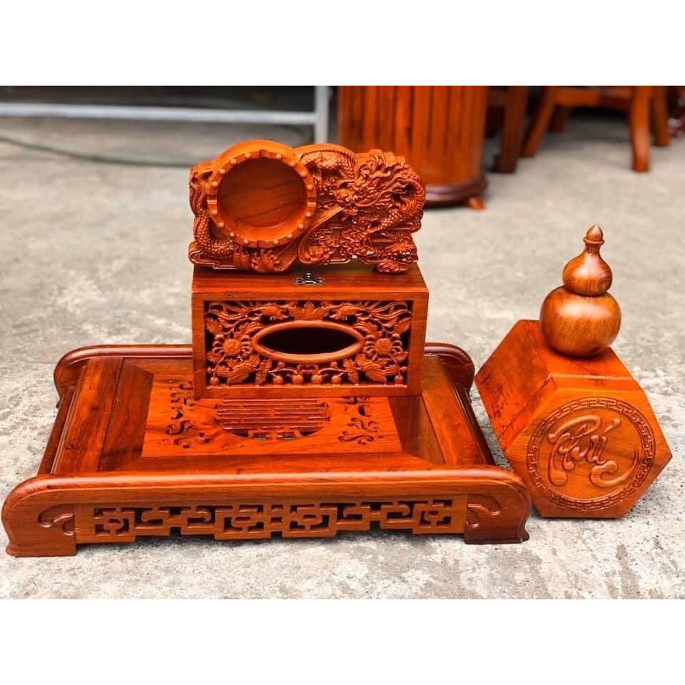 Combo 5 món khay trà, hộp đựng giấy, gạt tàn, hộp chè, lọ đựng tăm siêu đẹp gỗ Hương