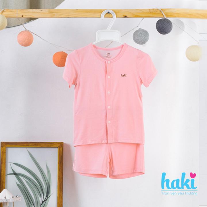 Bộ quần áo sơ sinh cho bé vải sợi tre siêu mềm mịn cao cấp - đồ sơ sinh cho bé (2,5kg - 15kg) - bộ cộc tay cho bé Haki BB002