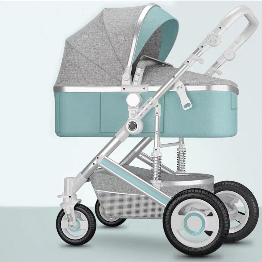Xe đẩy em bé, xe đẩy trẻ sơ sinh 2 chiều 3 tư thế có giảm xóc nôi tháo rời bánh xe cao su