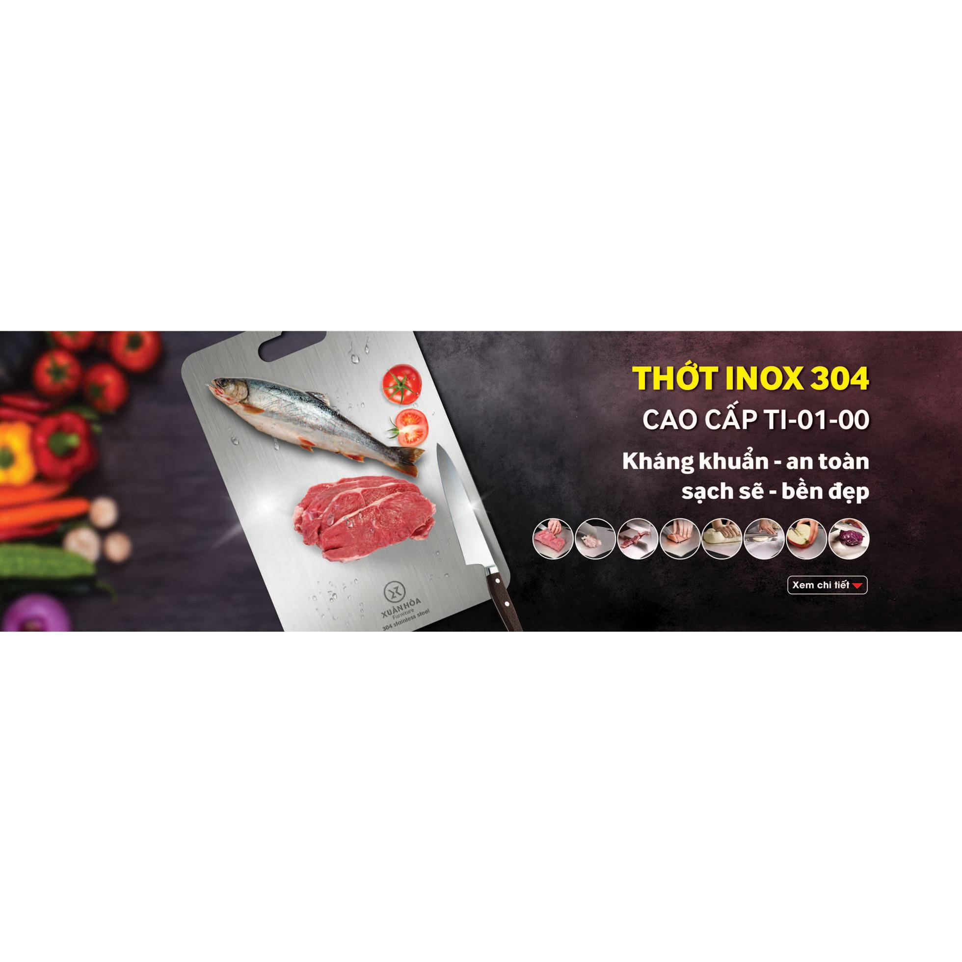 Thớt inox Xuân Hòa TI-01-00 sử dụng inox 304