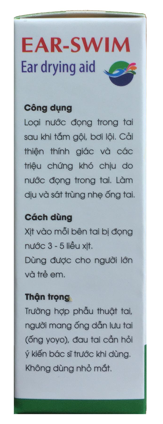 Ear-Swim (Dung dịch làm khô tai. Hàng chính hãng)