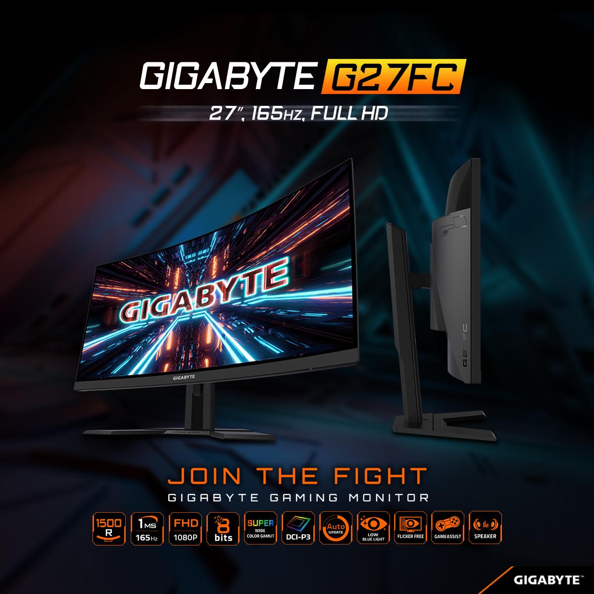 Màn Hình Cong 1500R Gaming Gigabyte G27FC 27'' FullHD (1920x1080) 1ms 165Hz VA Cong Stereo Speaker (2W x 2) - Hàng Chính Hãng