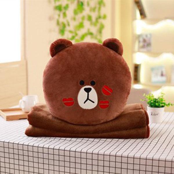 Chăn gối văn phòng 2in1 gấu Line