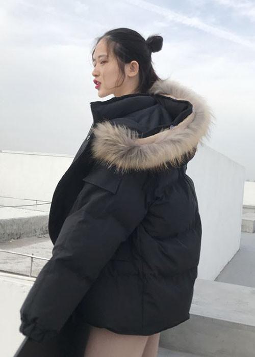 áo phao béo nữ mũ lông