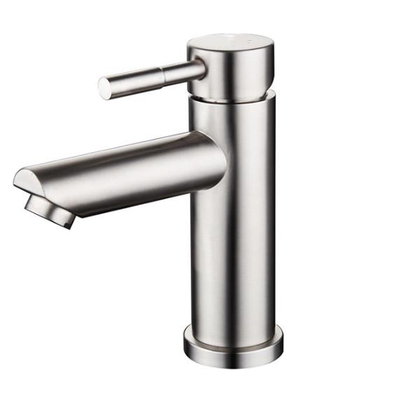 Vòi rửa mặt  nóng lạnh inox 304 thân tròn - tặng kèm dây cấp nước nóng lạnh.